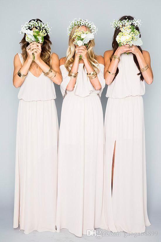 Dusty Pale Beige Chiffon Mumu Boho Country Bridesmaid Dresses 2017 Elegant Split Off-shoulder Long Cheap Bridesmaid Gowns