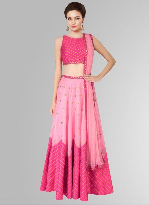 ee1d1280cd7 Fabboom Pink Raw Silk Printed Navratri Special Lehariya style Lehenga Choli…
