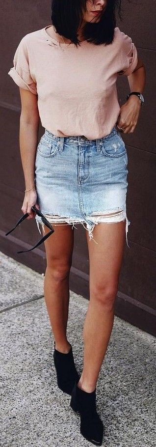 Peach Tee + Ripped Denim Skirt Source