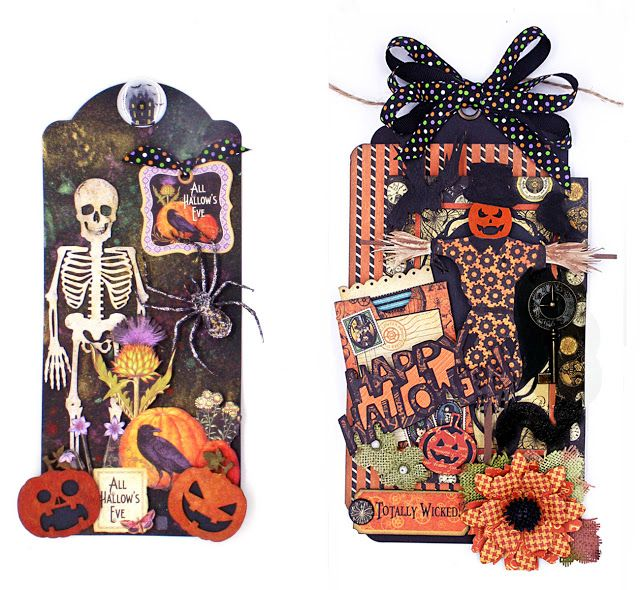 adorable Halloween tags perfect for scrapbook embellishments or handmade cards. Via Creative Embellishments