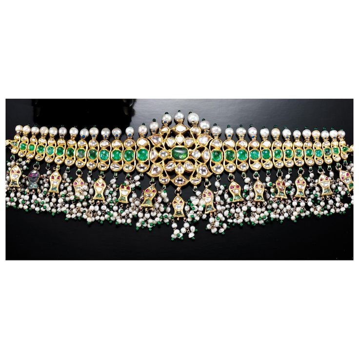 SEED PEARL, RUBY, EMERALD AND DIAMOND CHOKER, INDIAN   Lot   Sotheby's