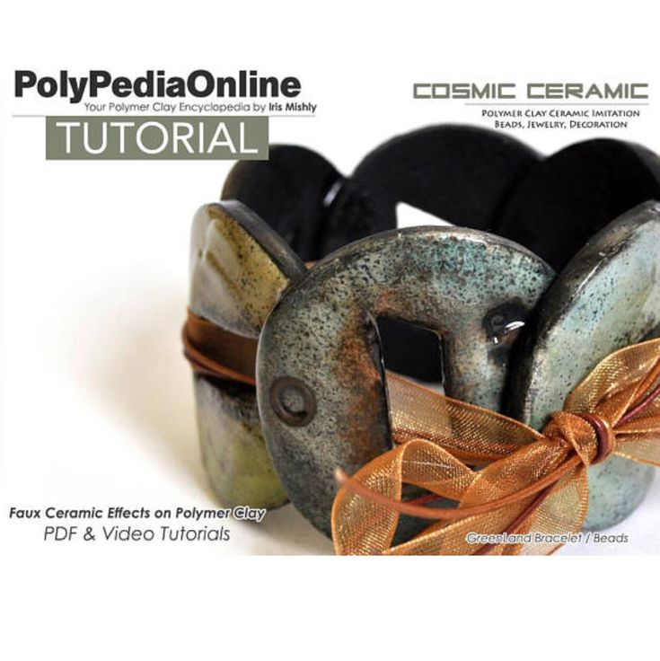 The beauty of ceramic showcased by polymer clay. Create your beautiful beads using an easy technique - video and pdf tutorial. Now on a special 25OFF SALE!