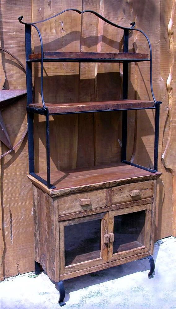 rustic baker's rack | ... Stuff Iron Frame w Wood Indoor/Outdoor Antique Style Bakers Rack