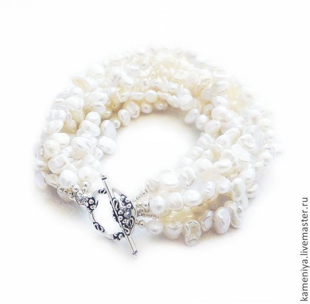 Купить Многорядный браслет из жемчуга с серебром 925 пробы - белый, жемчужный, жемчужный браслет