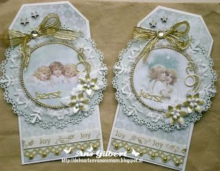 pair of Christmas tags from Our Mom cards ... shabby chic styling ... lots of layers ... ribbons, pearls, die cuts and dimensional flowers .