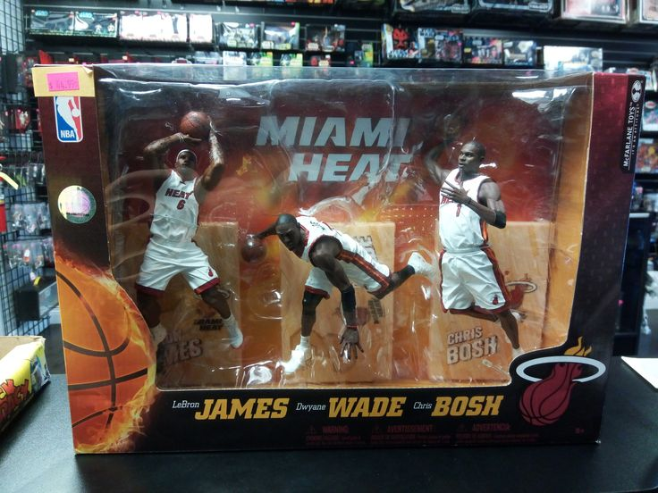 McFarlane Toys Miami Heat 3Pack LeBron James Dwyane Wade Chris Bosh NBA Figures