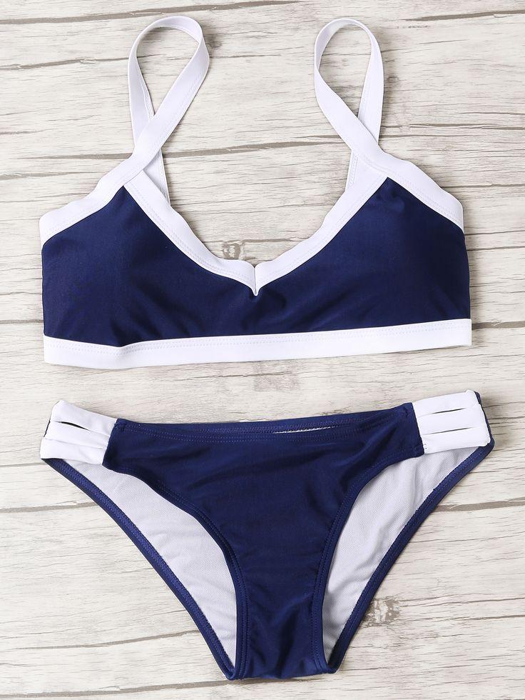 Shop Navy Contrast Trim Ladder Cutout Bikini Set online. SheIn offers Navy Contrast Trim Ladder Cutout Bikini Set & more to fit your fashionable needs.
