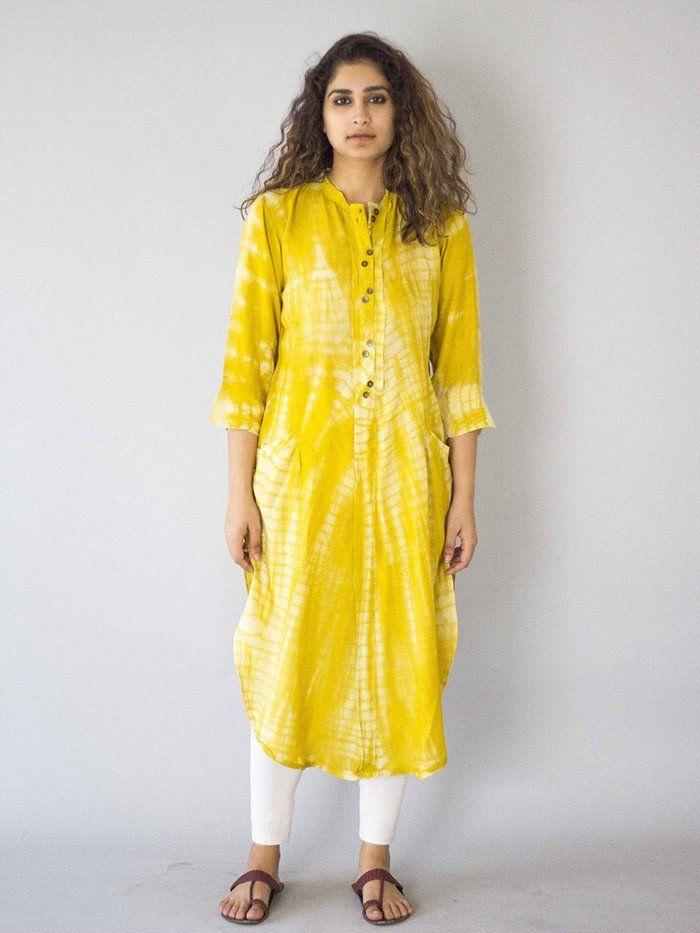 Yellow Tie and Dye Cotton Silk Kurta