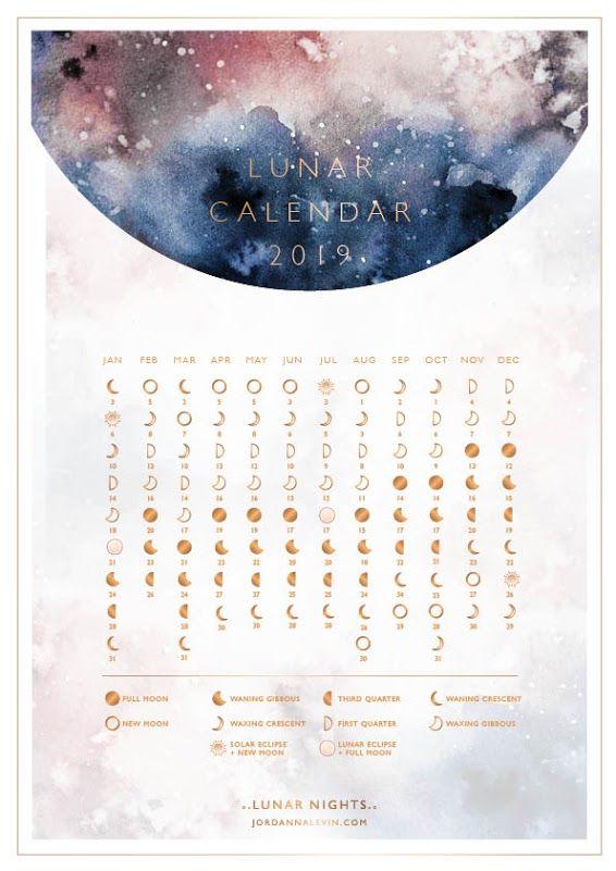 2019 Lunar Calendar Lunar Calendar Moon Calendar Calendar