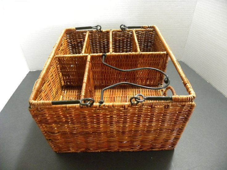 Wicker Picnic Organizer Utensil Holder Patio Garden Beach Caddy Indoor Outdoor