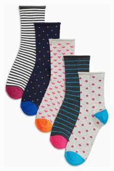 Next Navy Spots And Stripes Ankle Socks Five Pack £10
