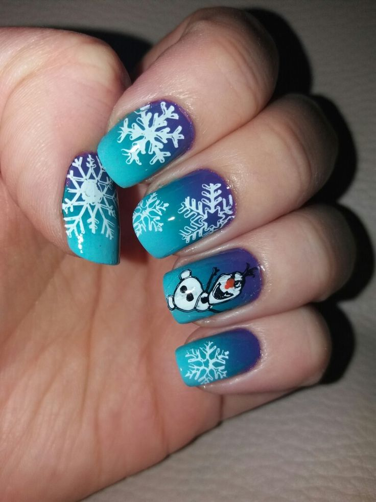 Frozen/Olaf nails