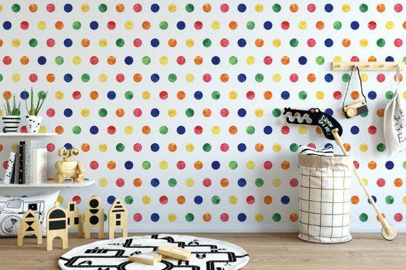 Rainbow Polka Dots Removable Wallpaper Watercolor Polka Etsy Polka Dots Wallpaper Removable Wallpaper Dots Wallpaper