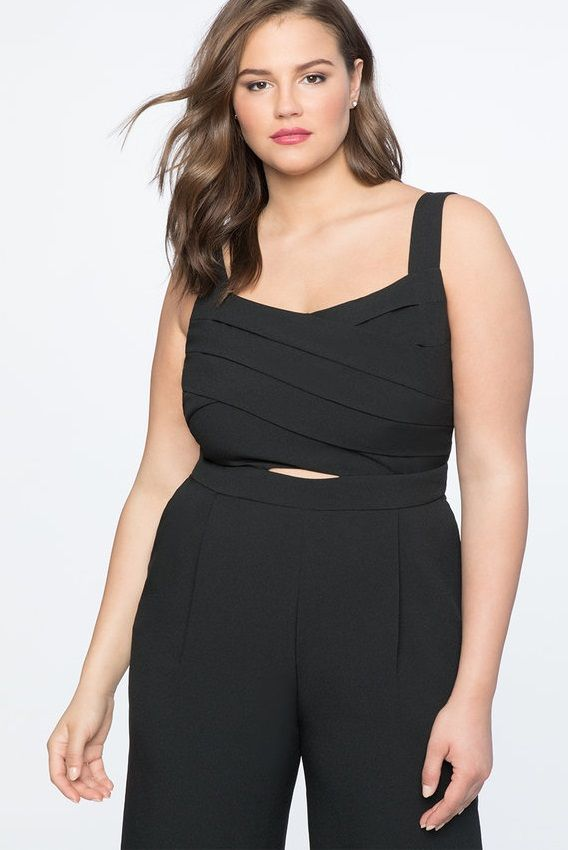 e5ad29dd895 Black Cropped Leg Plus Size Jumpsuit - Chic Cross Front Cropped Jumpsuit  Totally Black - Fits Plus Sizes - Dress this jumpsuit up or down and look  fabulous ...