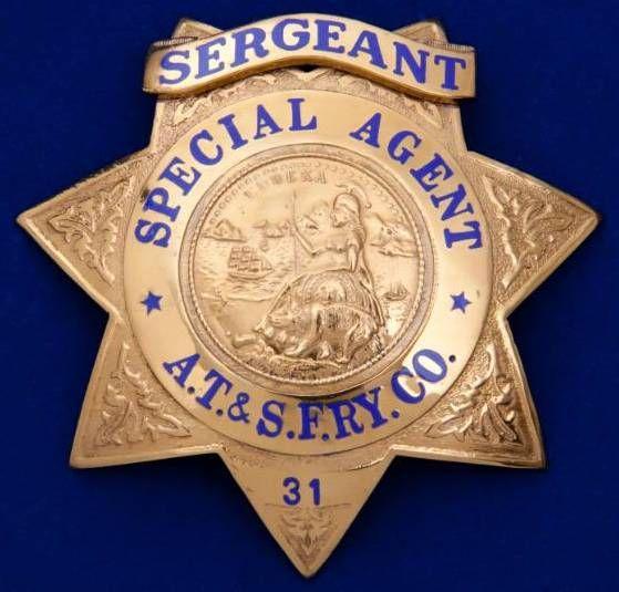 ·Atchinson Topeka & Santa Fe Railroad Police Badge