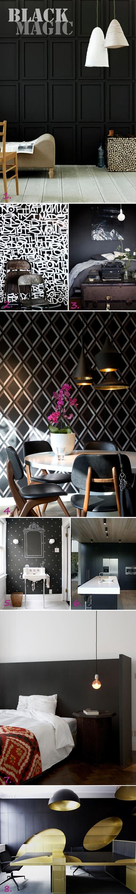 Dark, moody interiors: Interiors Inspiration Lov, Black Magic, Black Interiors, Moody Interiors, Architecture Interiors, Interiors Design, Bathroom Wall, Black Love, Black Wall