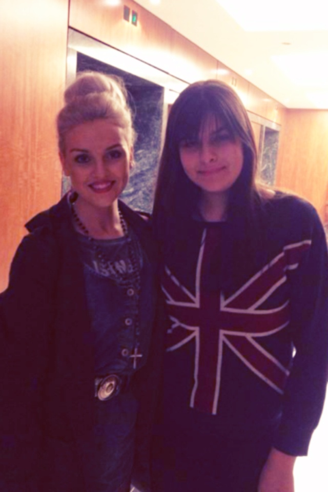 Me and Perrie right after I was in the lift with her and the girls  she is amazing <3  And as a bonus she is wearing Zayn's Jacket!   - Katherine xx