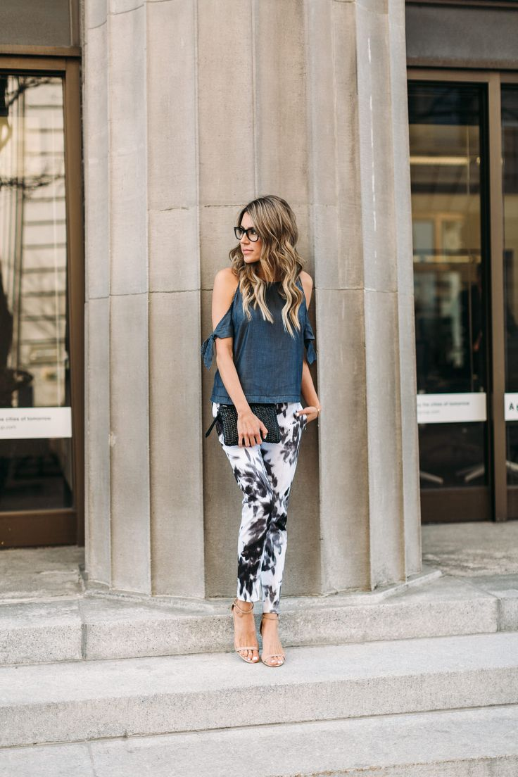 4 Looks You'll Wear In And Out of the Office - Hello Fashion. Denim cold shoulder top+black and white print pants+nude sandals+black clutch. Summer Dressy Casual Outfit 2017