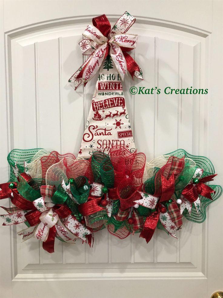 Vintage Merry Christmas Fabric Hat Wreath