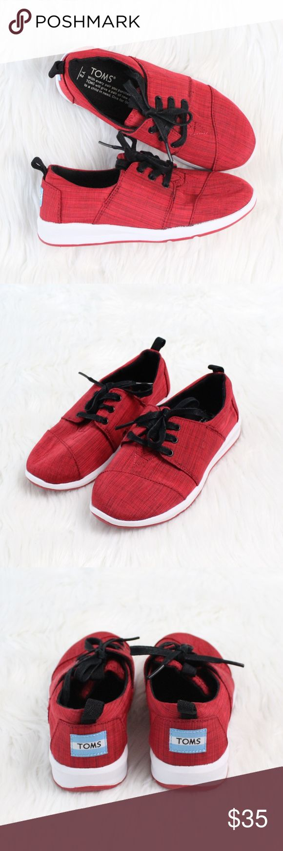 TOMS Del Rey Youth Sneaker in Red/Black Brand new without box!  Size: Y2 Color: Red/Black  Set on a super-lightweight sole, a sporty lace-up sneaker made from breezy canvas is crafted with a signature TOMS flag at the back heel and a stitched toe box.  Lace-up style. Textile upper and lining/textile and rubber sole. Toms Shoes Sneakers