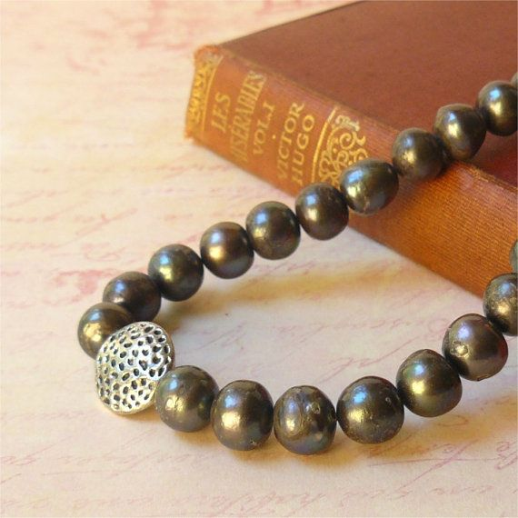 Grey pearl necklace and silver focal  ocean by planettreasures