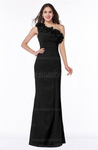 Black Sexy Fit-n-Flare Sleeveless Half Backless Chiffon Flower Plus Size Bridesmaid Dresses