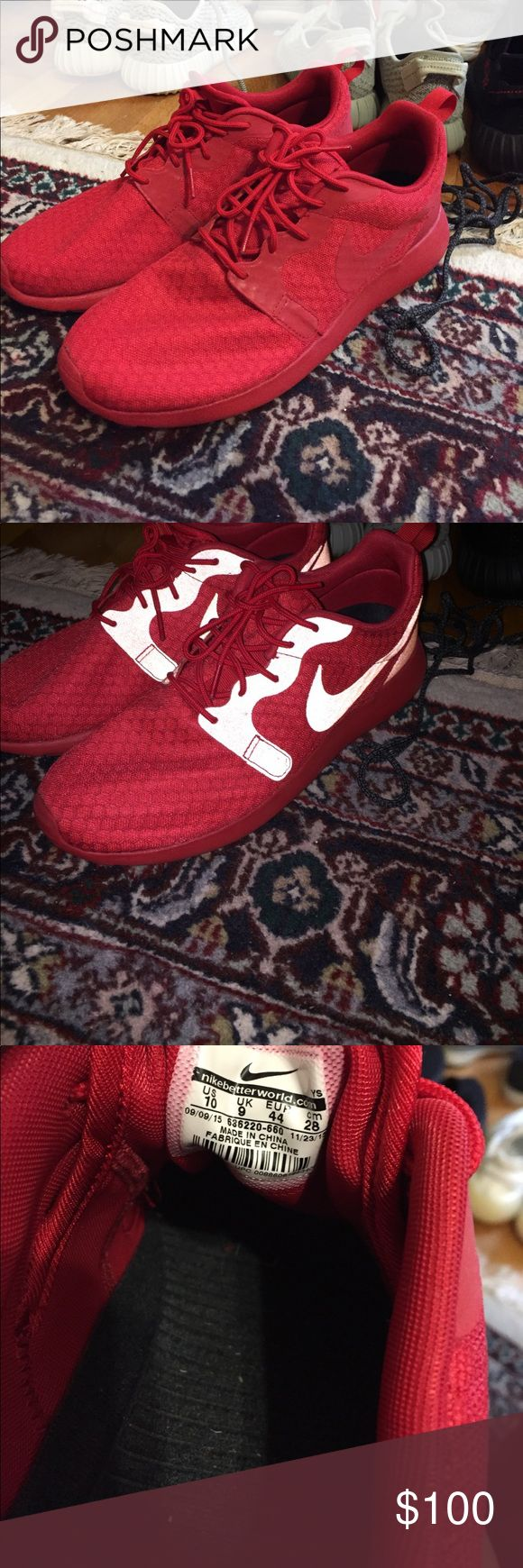 Nike Roshe One Hyperfuse University Red In perfect condition! Worn twice. If you want the red october colorway, but do not want to pay the extra money for Air Yeezy 2s this is the way to go. Nike Shoes Sneakers