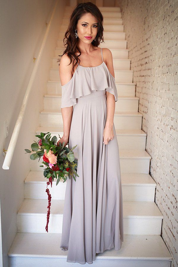 Shining Heart Maxi Dress in Grey