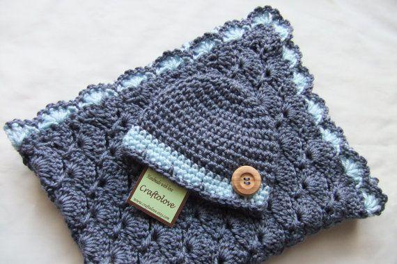 Baby Boy Shower Gift Set - Baby Boy Blanket - Denim Blue Stroller/Travel blanket and hat - Crochet baby blanket