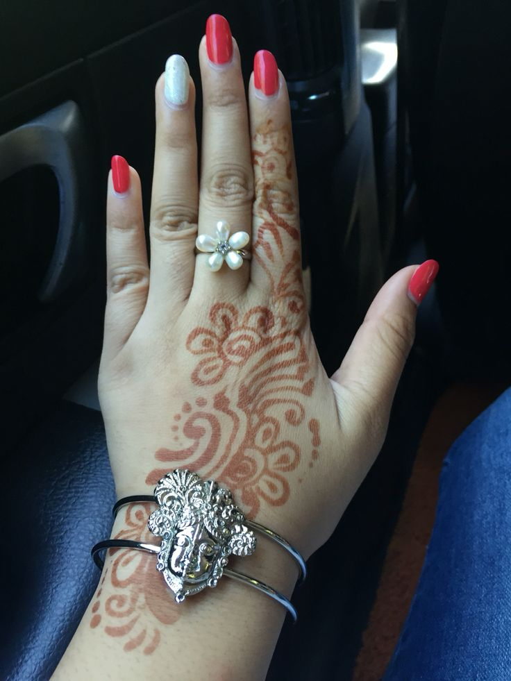 Gel Reddish Pink and White Glitter Nails with Henna