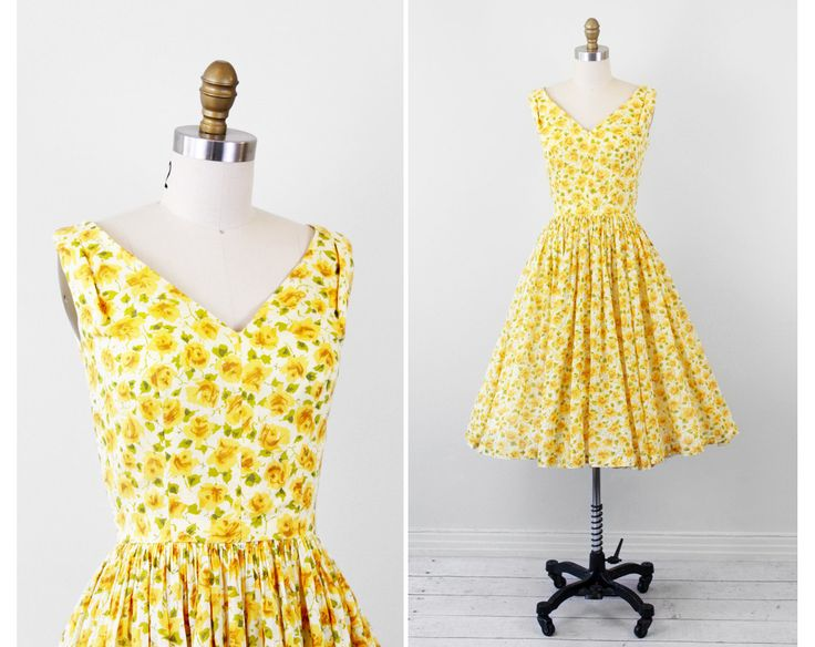 The 100 best yellow dresses images on pinterest yellow dress vintage 1950s 50s dress sheer yellow floral cotton sundress mightylinksfo