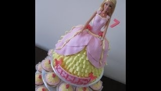 How to Make a Princess Doll Cake & Cupcakes - Start to Finish, via YouTube.