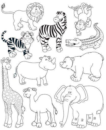 ANIMALES SALVAJES,CEBRA,LEON,COCODRILO,MONO,TIGRE,RINOCERONTE,JIRAFA,ELEFANTE Y CAMELLO DIBUJOS PARA COLOREAR para niños