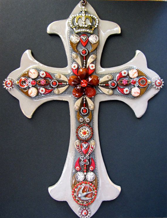 Wall Cross Red and Grey Embellished fleur de lis by iluvPiC, $95.00