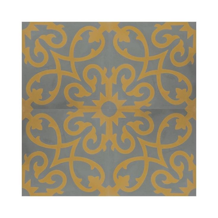 Mosaic Agadir Grey and Yellow Handmade Moroccan 8 x 8 inch Cement and Granite Floor or Wall Tile (Case of 12) (Agadir Grey and Yellow)