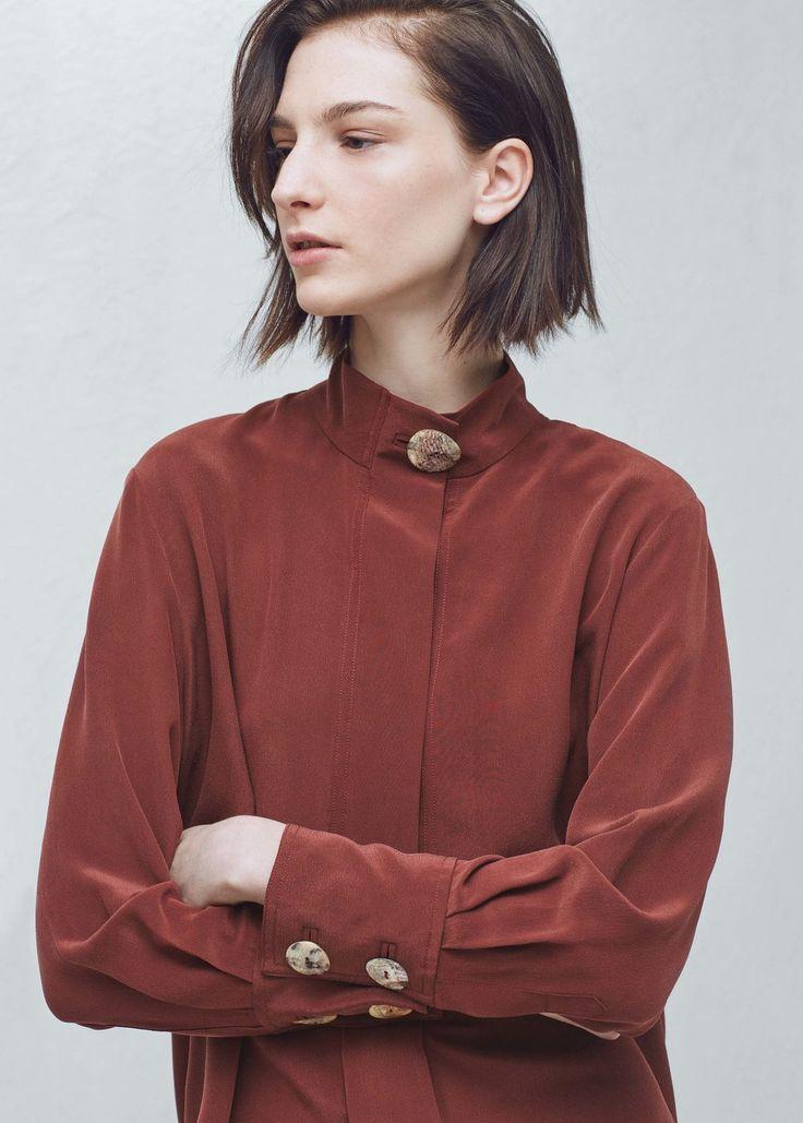 Premium - buttoned silk blouse | MANGO