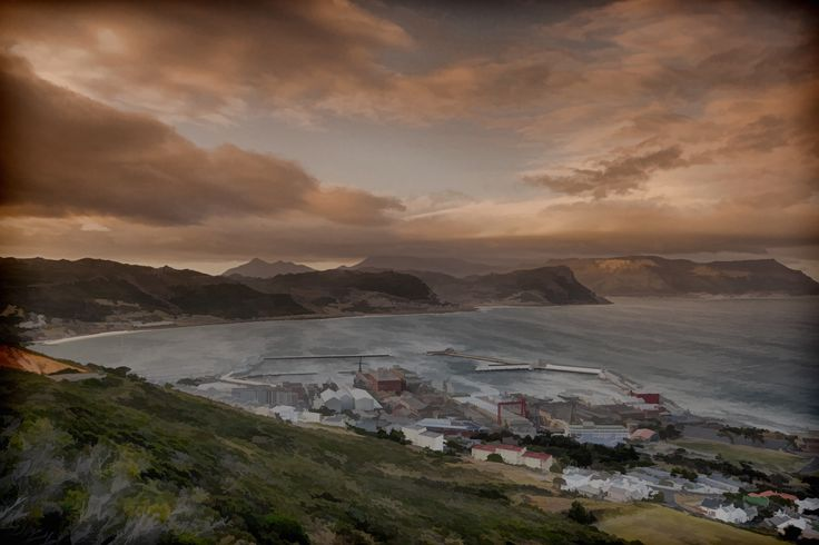 Beautiful sunset clouds over the bay of Simon's Town, South Africa