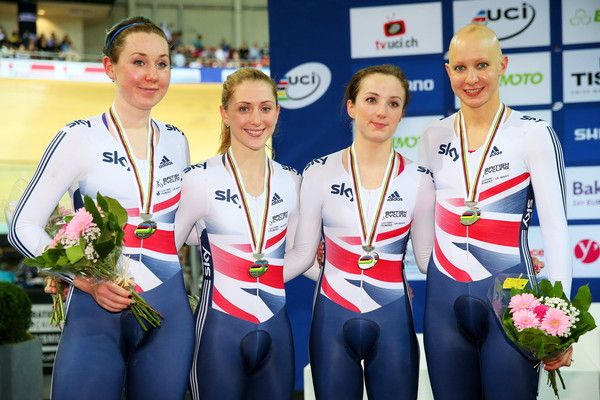 Laura Trott Photos - The Great Britain team of Katie Archibald, Laura Trott, Elinor Barker and Joanna Rowsell celebrate with the silver medals won in the…