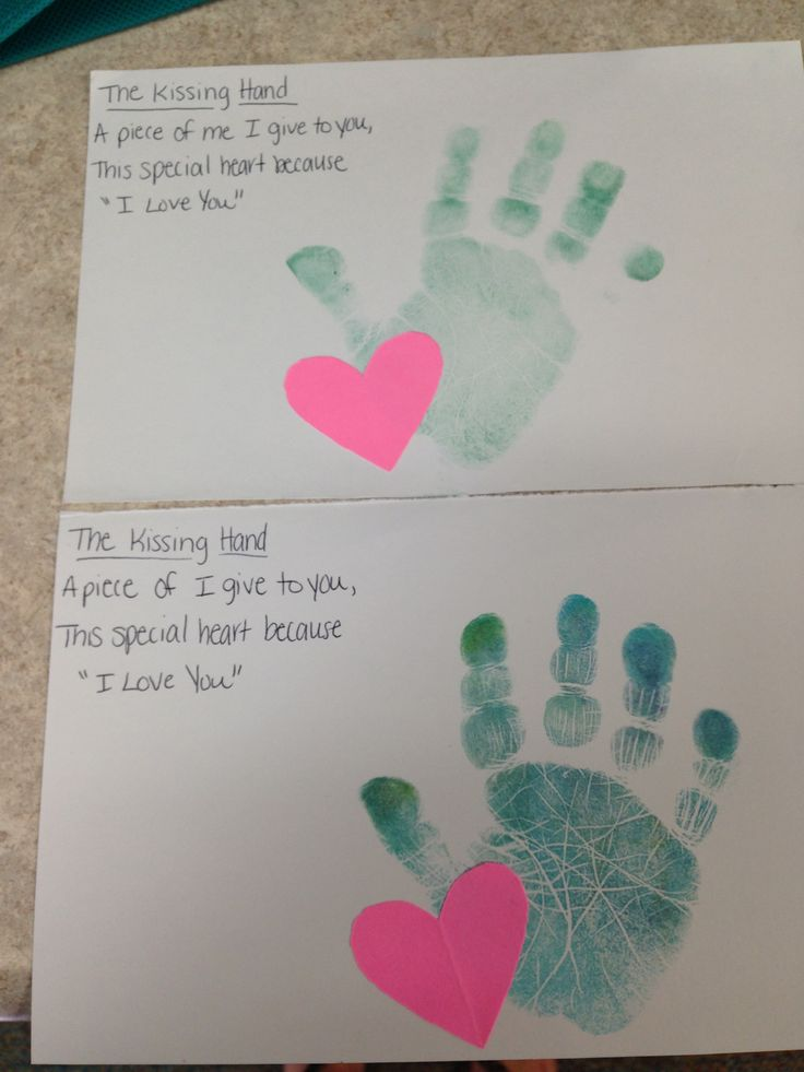 The kissing hand poem* washable ink pad and construction paper heart. 2 year old classroom.
