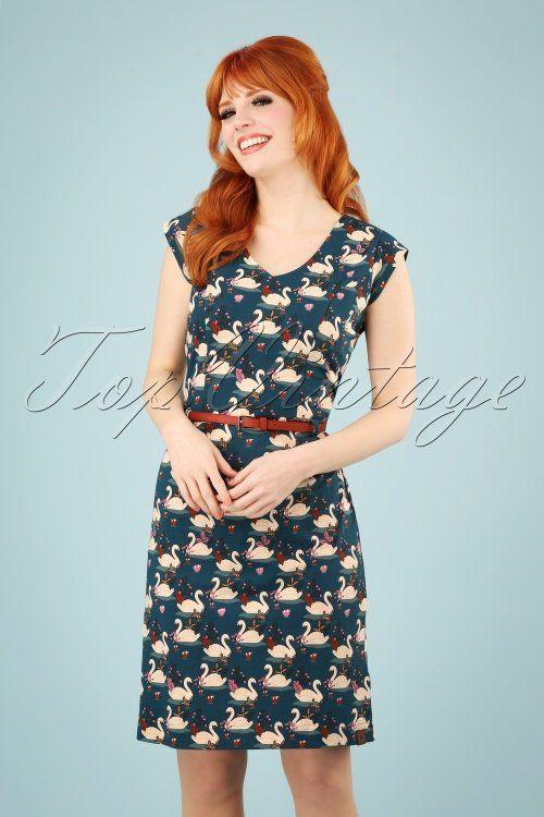 60s stormy swan dress in blue kleid mit aermel kleider retro muster