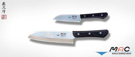 """MAC Brand Superior Santoku Knife Set of 2 by MAC. $104.95. The Superior Series consists of 2.0-2.5mm thin blades for less wedging into cuts but with a slightly stiffer feel than the Original Series. These knives are made using our Superior steel which has an additional processing step called sub-zero tempering for better edge retention. MAC """"Superior"""" series of knives with a razor sharp edge and easy to keep sharp metal. Includes one #SK65 santoku and one #SK40 mini santoku..."""