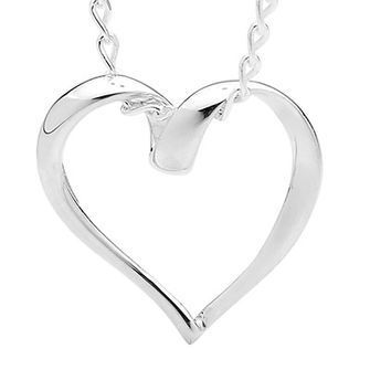 Open Silver Heart Pendant on Chain - BEE-34351