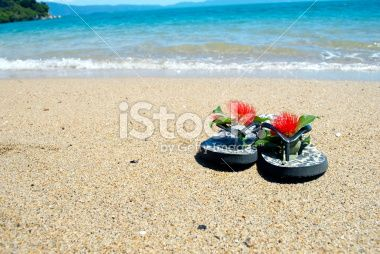 Kiwiana Christmas; Jandals by the Sea Royalty Free Stock Photo