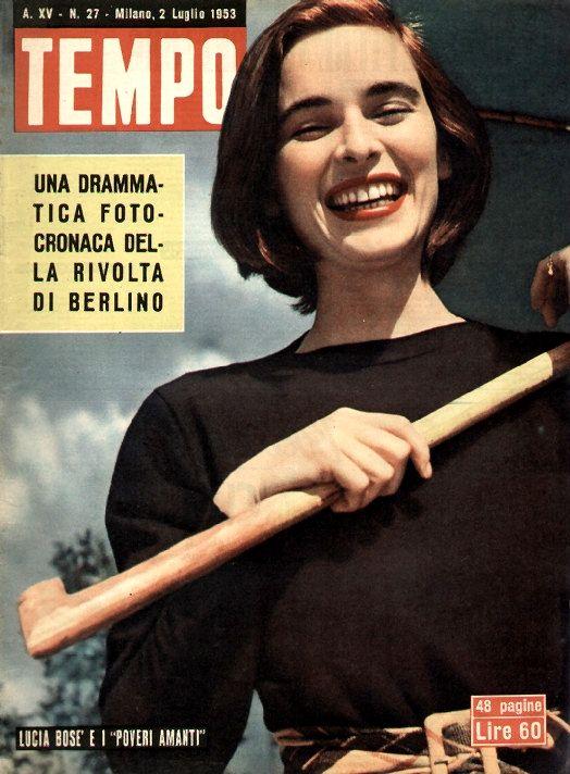 "Movie star Lucia Bosè (Miss Italia 1947): ""Lucia Bosè and the 'Poor lovers'"" (2nd July 1953). In Carlo Lizzani's drama ""Cronache di poveri amanti"" (English title: ""Chronicle of poor lovers""), Lucia Bosè was supposed to play the role of Milena, actually played by Antonella Lualdi."