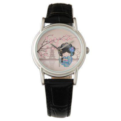 #girly - #Keiko Kokeshi Doll - Blue Kimono Geisha Girl Wrist Watch