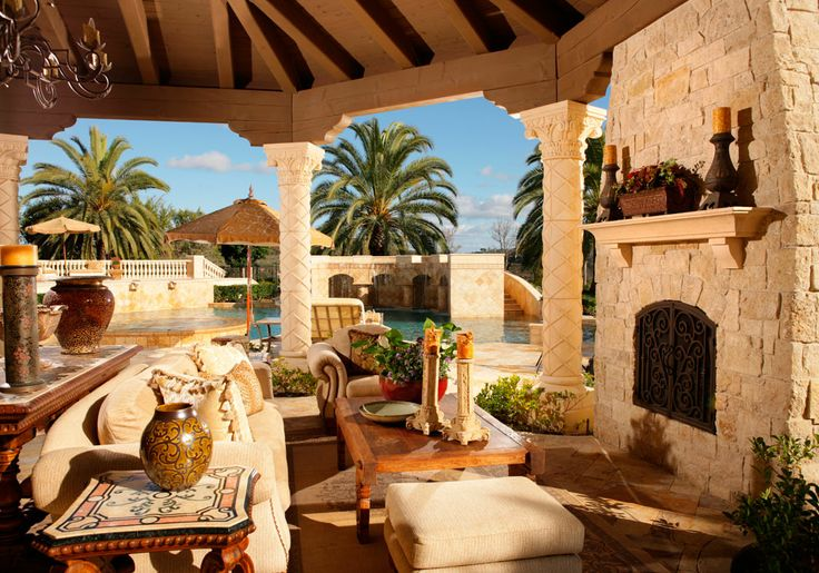 Mediteranean Living Loggia by Pool - Interior Designer Susan Spath - High End Furniture by Kern & Co