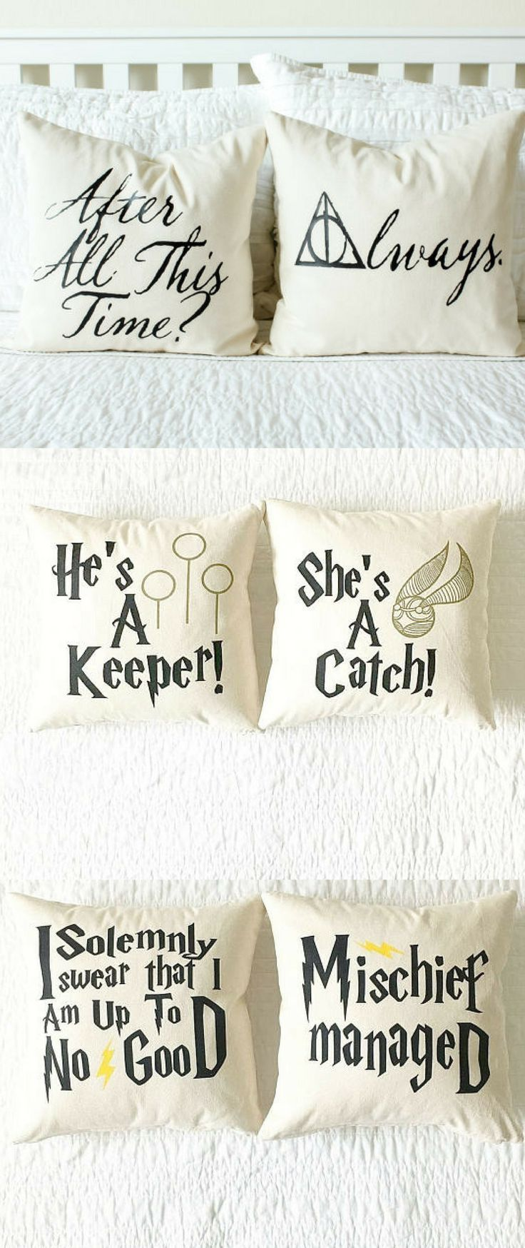 """My inner Potterhead is in love with these cozy Harry Potter Throw Pillows! Sweet phrases for your better half, such as Snape's """"After all this time?""""...""""Always"""" and He's a Keeper & She's a Catch. Loving the nod to the Marauder's Map with Mischief Managed and I Solemnly Swear I am up to no good. Need all of these right now! #Potterhead #HarryPotter #FarmhouseDecor #RusticDecor #affiliate #ThrowPillows #GiftsForHim #FarmhouseLiving #MischiefManaged #GiftsForHer"""