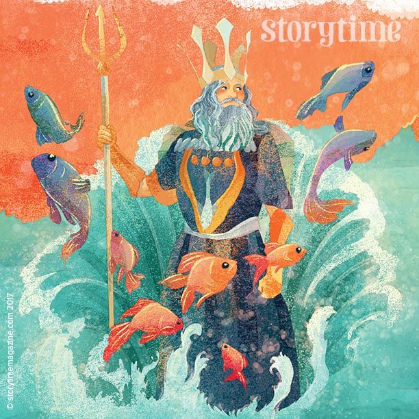 The King of the Fish makes an appearance in Storytime Issue 36's fairy tale, The Dragon Queen. Beautifully illustrated by @alessandrafusi ~ STORYTIMEMAGAZINE.COM