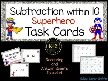 Math Task Cards, Superhero Theme, Subtraction within 10. Scoot activity, centers, early finishers, morning work buckets, and assessments