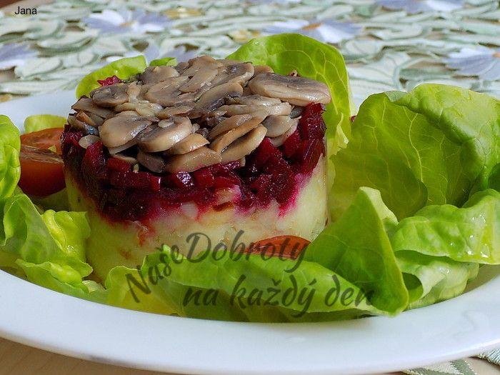 Recept Šťouchané brambory s červenou řepou a žampiony , autor: Jana.